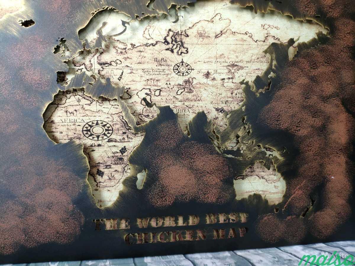Картина карта мира металл в Москве. Фото 3