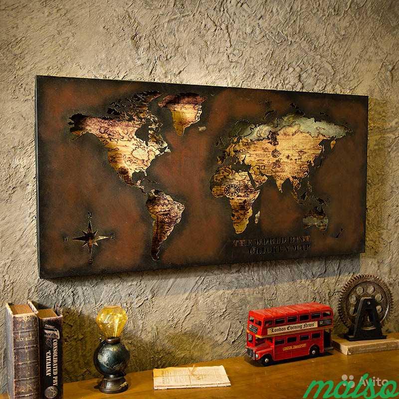 Картина карта мира металл в Москве. Фото 1
