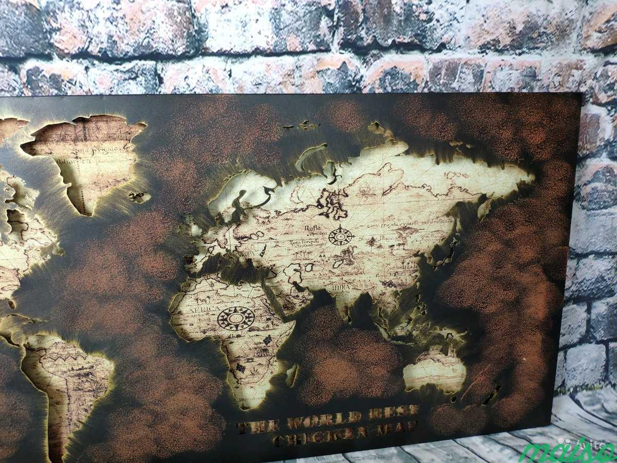 Картина карта мира металл в Москве. Фото 7