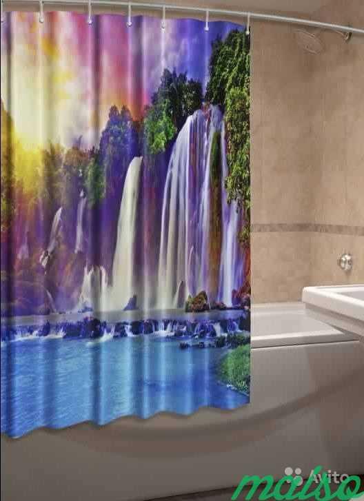 Фотошторы для ванной 3D Много в Москве. Фото 2