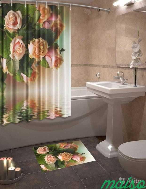 Фотошторы для ванной 3D Много в Москве. Фото 6