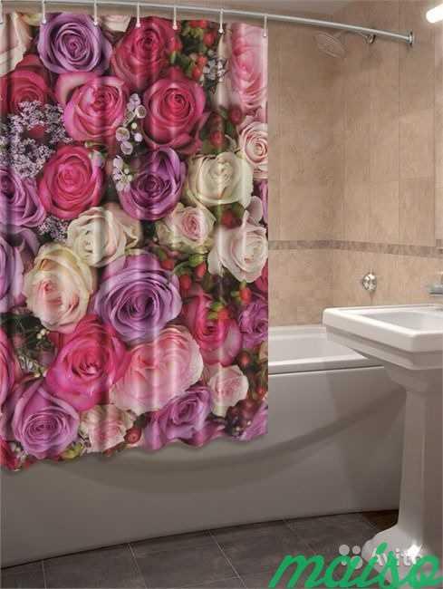 Фотошторы для ванной 3D Много в Москве. Фото 5