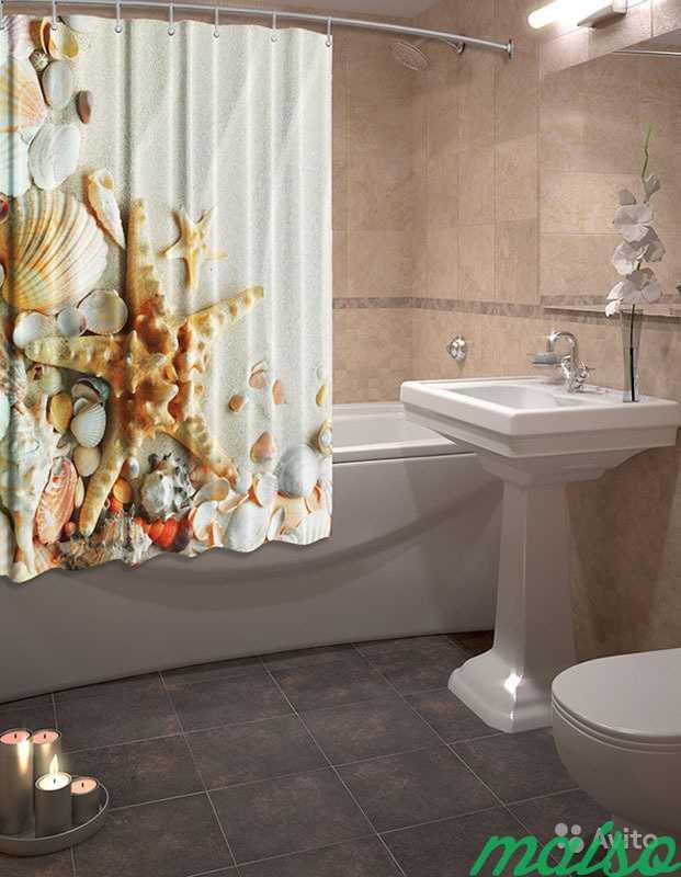 Фотошторы для ванной 3D Много в Москве. Фото 3