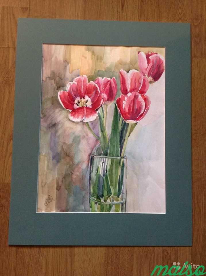 Картина акварель цветы (ирисы, тюльпаны, фиалки) в Москве. Фото 7