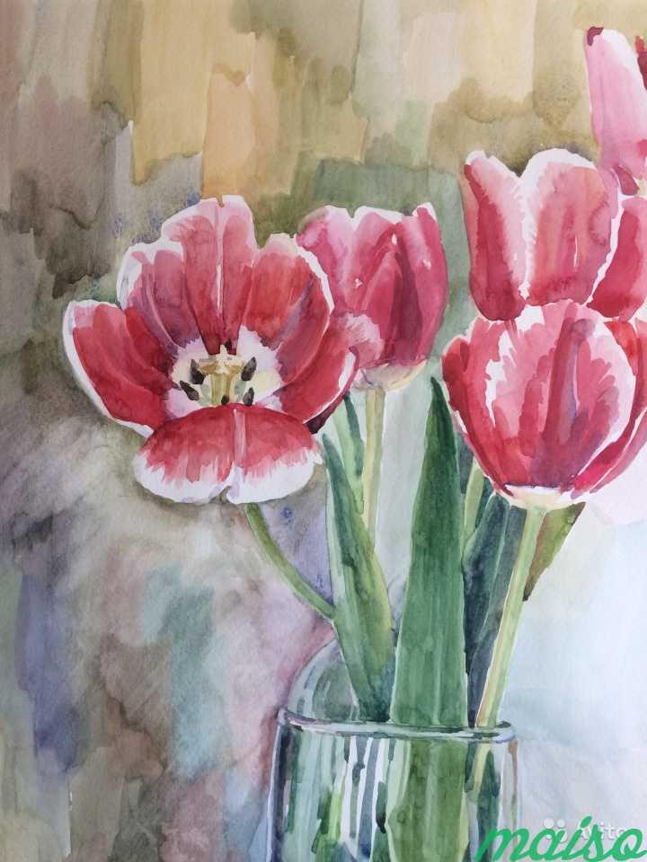 Картина акварель цветы (ирисы, тюльпаны, фиалки) в Москве. Фото 6