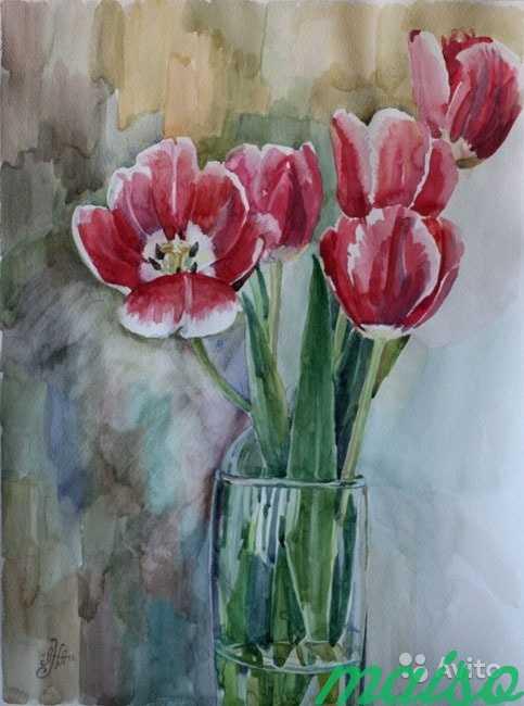 Картина акварель цветы (ирисы, тюльпаны, фиалки) в Москве. Фото 5