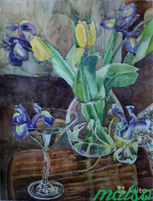 Картина акварель цветы (ирисы, тюльпаны, фиалки) в Москве. Фото 3