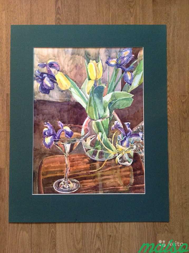 Картина акварель цветы (ирисы, тюльпаны, фиалки) в Москве. Фото 4