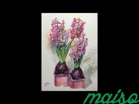 Картина акварель цветы (ирисы, тюльпаны, фиалки) в Москве. Фото 1