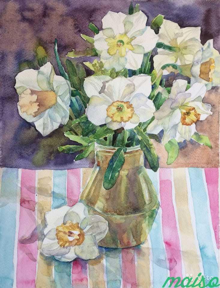Картина акварель цветы (ирисы, тюльпаны, фиалки) в Москве. Фото 2