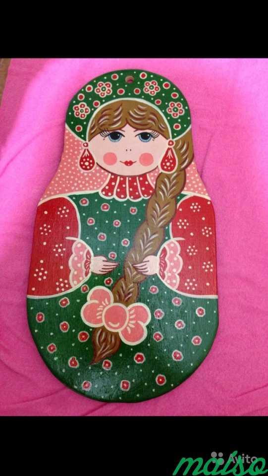 Панно девица красавица, дерево расписное в Москве. Фото 1