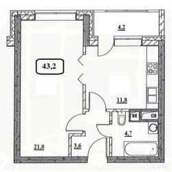 1-к квартира, 43.2 м², 31/32 эт.