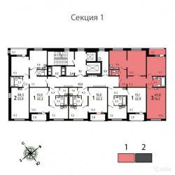 Продам квартиру в новостройке ЖК «Некрасовка» , Корпус 5 (Кв. 6) 3-к квартира 74.1 м² на 10 этаже 17-этажного панельного дома , тип участия: ДДУ