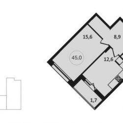 Продам квартиру в новостройке ЖК «Скандинавия» , Дом 12. Корпус 2 1-к квартира 42 м² на 12 этаже 14-этажного монолитного дома , тип участия: ДДУ