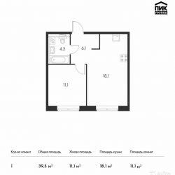 Продам квартиру в новостройке ЖК «Ясеневая, 14» 1-к квартира 39.5 м² на 18 этаже 25-этажного монолитного дома , тип участия: ДДУ