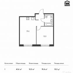 Продам квартиру в новостройке ЖК «Ясеневая, 14» 1-к квартира 41.4 м² на 20 этаже 25-этажного монолитного дома , тип участия: ДДУ
