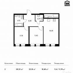 Продам квартиру в новостройке ЖК Green Park (Грин Парк) , Блок 3 2-к квартира 58.3 м² на 14 этаже 20-этажного монолитного дома , тип участия: ДДУ