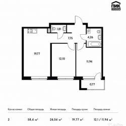 Продам квартиру в новостройке ЖК Green Park (Грин Парк) , Блок 5 2-к квартира 58.4 м² на 11 этаже 11-этажного монолитного дома , тип участия: ДДУ