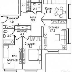 Продам квартиру в новостройке 3-к квартира 85 м² на 13 этаже 27-этажного монолитного дома