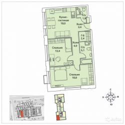 Продам квартиру в новостройке 2-к квартира 69 м² на 14 этаже 30-этажного монолитного дома