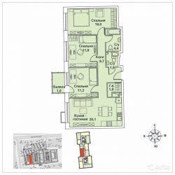 Продам квартиру в новостройке 3-к квартира 80 м² на 3 этаже 30-этажного монолитного дома