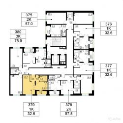 Продам квартиру в новостройке ЖК «Орехово-Борисово» , Корпус 2 1-к квартира 32.6 м² на 9 этаже 25-этажного панельного дома , тип участия: ДДУ