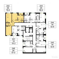 Продам квартиру в новостройке ЖК «Орехово-Борисово» , Корпус 2 3-к квартира 76 м² на 10 этаже 25-этажного панельного дома , тип участия: ДДУ