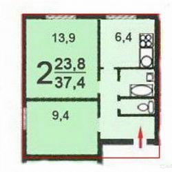 Продам квартиру 2-к квартира 38 м² на 2 этаже 12-этажного панельного дома