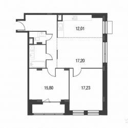 Продам квартиру в новостройке ЖК «Резиденции Архитекторов» , Корпус 11 3-к квартира 83.2 м² на 2 этаже 12-этажного монолитного дома , тип участия: ДДУ