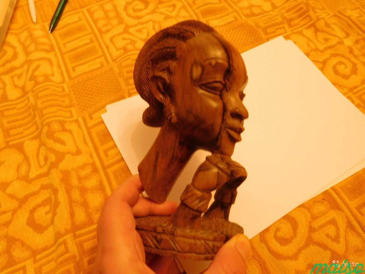 Африканска статуэтка голова женщины Эбеновое дерев в Москве. Фото 1