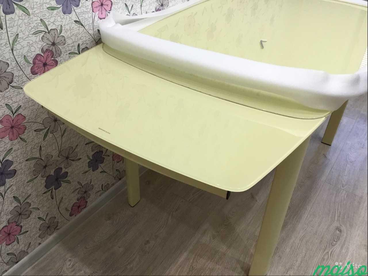 Стол кухонный, стеклянный Бегония, цвет бежевый в Москве. Фото 4
