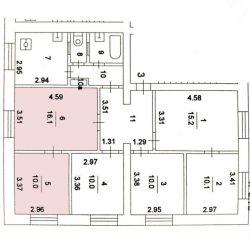 Продам комнату Комната 26 м² в 6-к квартире на 2 этаже 5-этажного кирпичного дома