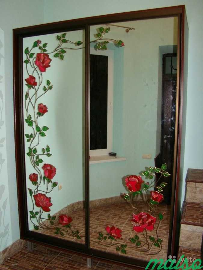 Шкаф-купе Витраж на зеркале Роза 19 в Москве. Фото 1