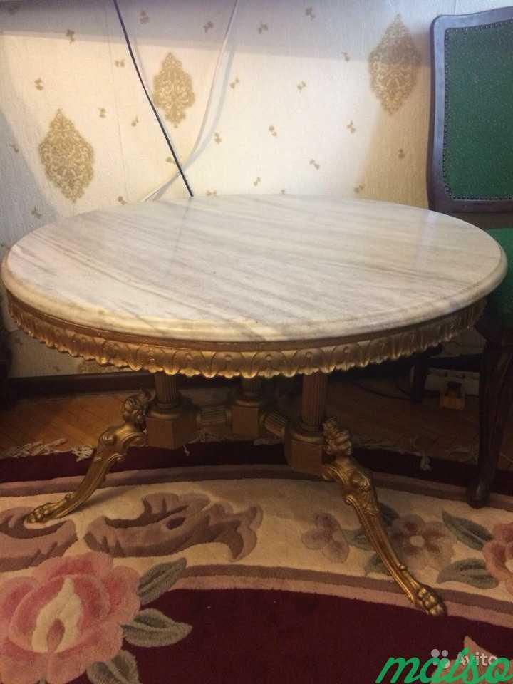 Стол бронзовый с мраморной столешницей в Москве. Фото 2