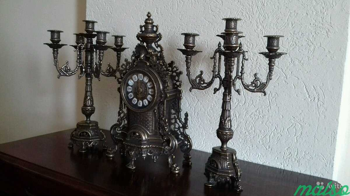 Набор Часы + 2 канделябра Барокко антик в Москве. Фото 2