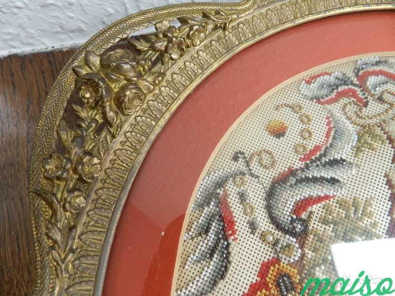 Настольное антик декорат. панно-поднос 19в Франция в Москве. Фото 2