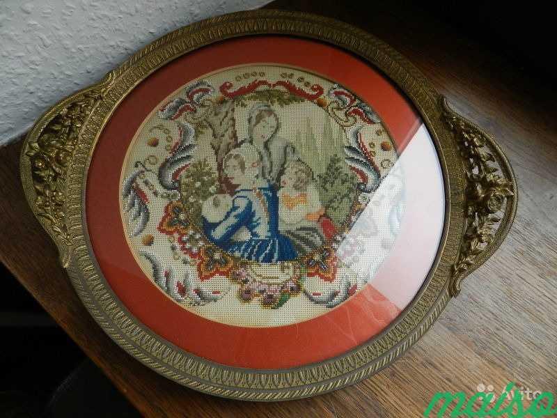 Настольное антик декорат. панно-поднос 19в Франция в Москве. Фото 1