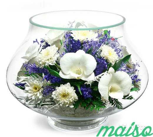 Цветы в вакууме не вянут 5лет-круглая ваза в Москве. Фото 11