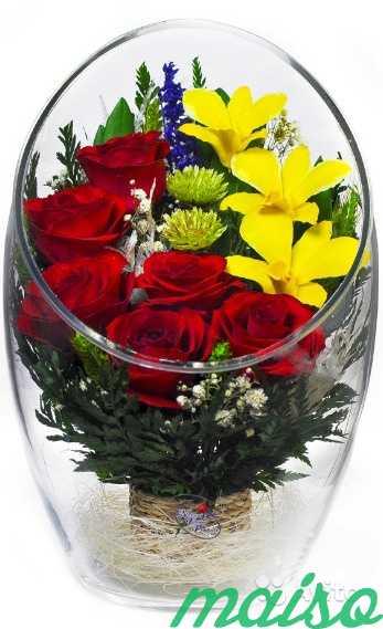 Цветы в вакууме не вянут 5лет-круглая ваза в Москве. Фото 2
