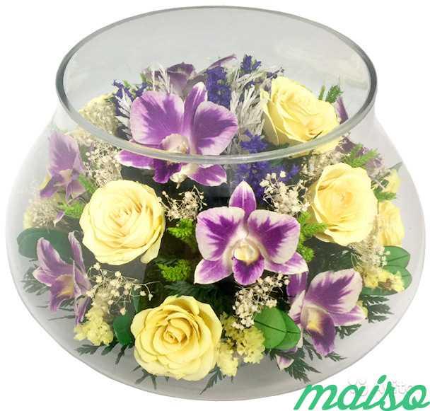 Цветы в вакууме не вянут 5лет-круглая ваза в Москве. Фото 8
