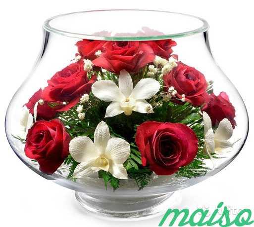 Цветы в вакууме не вянут 5лет-круглая ваза в Москве. Фото 7