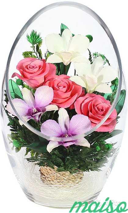Цветы в вакууме не вянут 5лет-круглая ваза в Москве. Фото 3