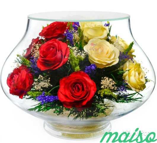 Цветы в вакууме не вянут 5лет-круглая ваза в Москве. Фото 10