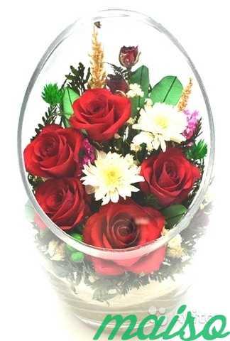 Цветы в вакууме не вянут 5лет-круглая ваза в Москве. Фото 5