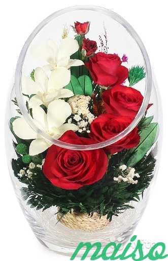 Цветы в вакууме не вянут 5лет-круглая ваза в Москве. Фото 4