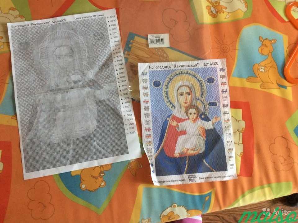 А4 Вышивка на канве Икона Богоматери + схема в Москве. Фото 2