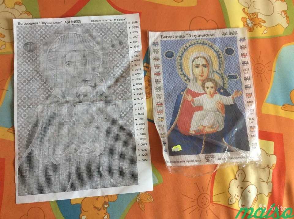 А4 Вышивка на канве Икона Богоматери + схема в Москве. Фото 1
