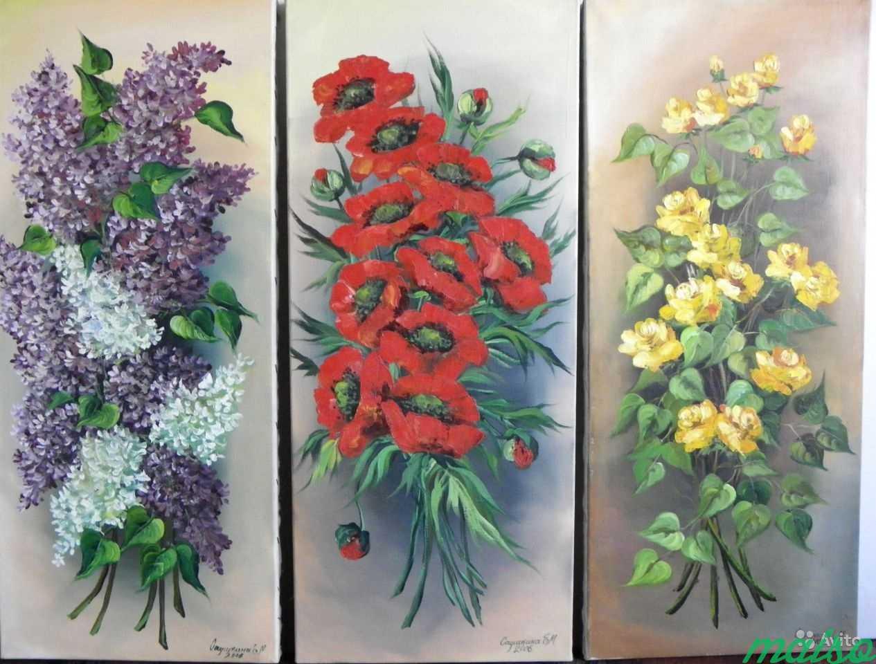 3 Картины маки,розы,сирень(авторской работы 2006г) в Москве. Фото 1