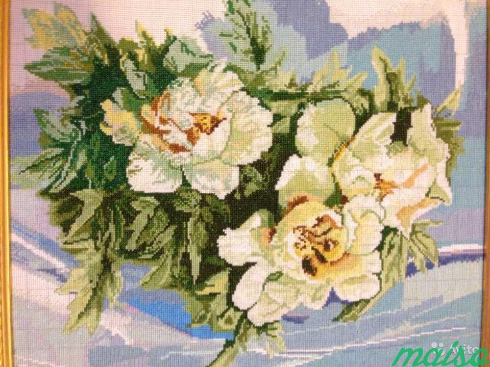 Картина Белые розы, вышита крестиком в Москве. Фото 3