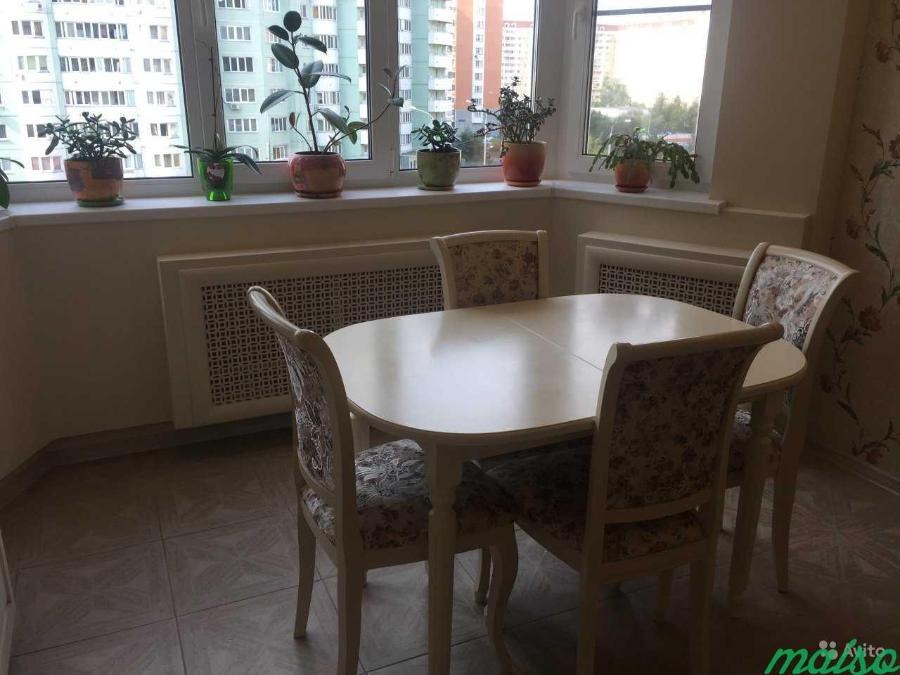 Стол и 4 стулья (деревянный) слоновая кость в Москве. Фото 5